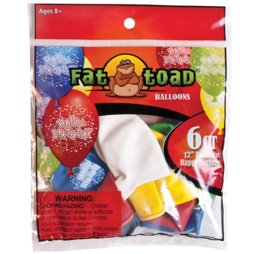 "Fat Toad Deco Latex Balloons 12"" 6/Pkg-Birthday Confetti - 1"