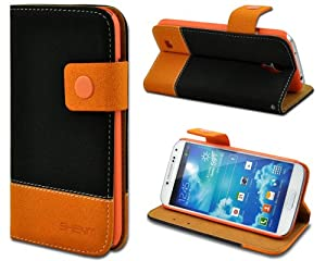Shenit Samsung Galaxy S4 Leather Case Wallet Flip Cover Dual Tone Folio with Credit Business Card Holder- Black