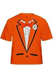 Tuxedo Shirt - Men's Orange Tuxedo T-Shirt With Ruffles