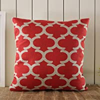 LINKWELL 45*45cm Red Geometric Fynn Moroccan Linen Cushion Covers Pillow Case with Gift Card by Linkwell Home Decor