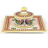 Littlethings4u Gold Meenakari Work Marble Jewellary Box n Tray 391