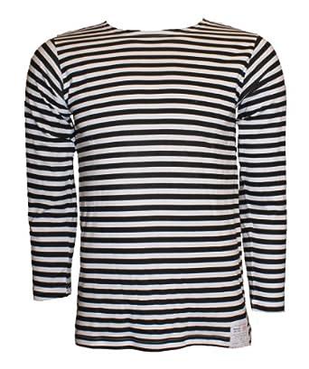 Russian Telnyashka Striped Sailors's / Navy's T-Shirt (34, Black)