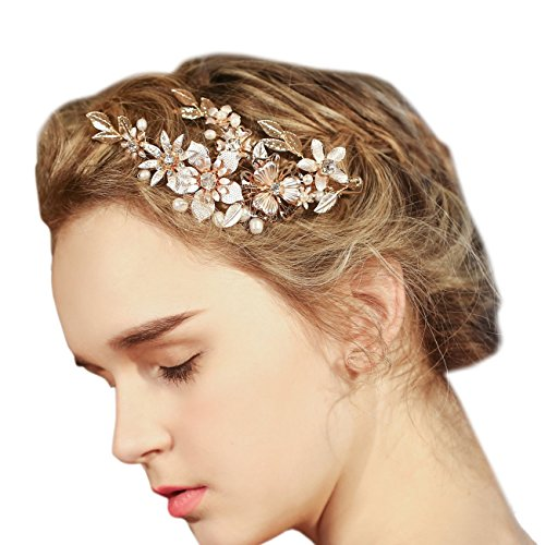 FAYBOX Wedding Bridal Golden Floral Hair Clips With Bling Rhinestone Prom Accessories Decoration D