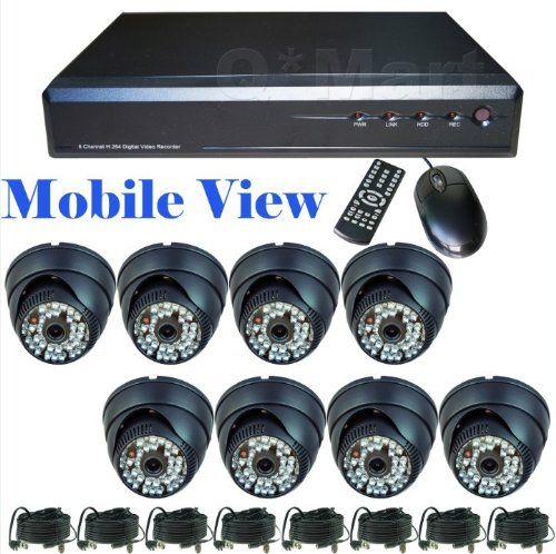 CCTV Surveillance Video System 500GB HDD 8 Channel DVR Cameras Complete Security System with 8 Color Indoor Dome Cmos IR Day/Night Security Cameras and 8x 60ft Siamese Cables and Power Adapter Unit included! Internet Access and Smartphone & 3G Mobile Phone Live View!