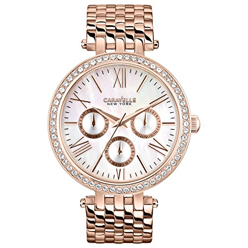 Caravelle New York Rose Gold Women's Quartz Watch with White Mother Of Pearl Dial Analogue Display and Rose Gold Stainless Steel Bracelet 44N101