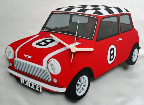 Mini Cooper Clock. The original mini is a true British icon, and this clock is hand made in the UK.