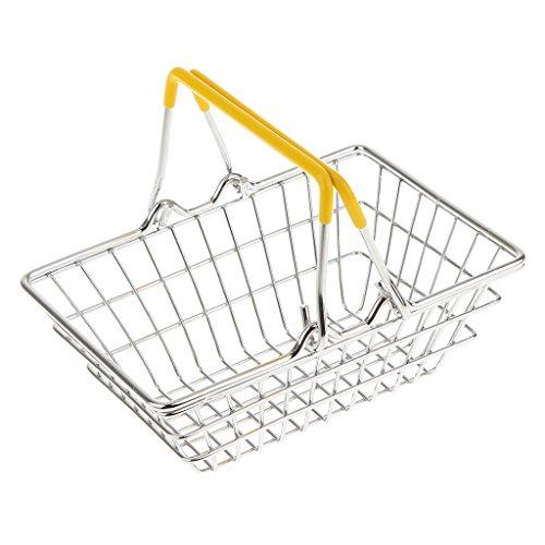 élégant Jaune Mini-panier Chrome Puces Présentation Shopping Panier Alimentaire
