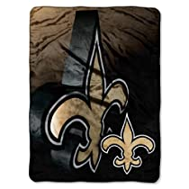 "NFL New Orleans Saints 60-Inch-by-80-Inch Micro Raschel Blanket, ""Bevel"" Design"