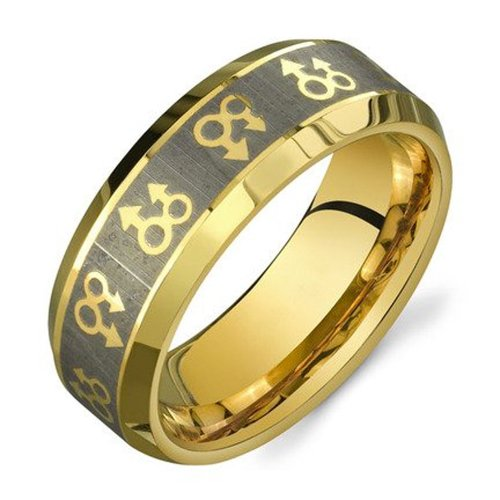 Gold Male Symbols - Gay Pride Steel Ring Male Gay Pride Ring. High Quality Steel Ring Band For Gay Men. Rainbow Pride Jewelry (Gay Gift Or Wedding Marriage Or Engagement Band) (12)