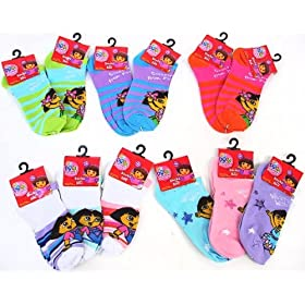Dora The Explorer Ankle Socks for Girls 12 pairs Size 6 - 8 by Nick Jr.