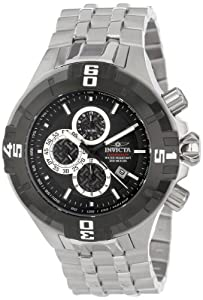 Invicta Men's Quartz Watch with Black Dial Chronograph Display and Stainless Steel Bracelet 12364