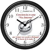 Habit 1 - A Conscience is a Compass (Spanish Text) - Wall Clock from THE 7 HABITS - CLOCK COLLECTION by WatchBuddy Timepieces (Black Frame)