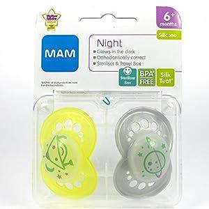 MAM Night: 2 x Chupetes 6m+ (Amarillo / Gris) de MAM - BebeHogar.com