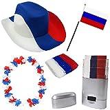 Sonia Originelli Fan Paket Fahne Flagge Schminkstift Cowboyhut Blumenkette Russland Russia weiss rot blau Flag RUS-SET-2
