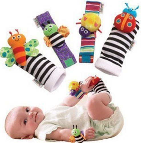 Makarine 4 x Baby Infant Soft Toy Wrist Rattles Hands Foots finders Developmental (Color Random)