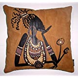 Which Kraft Leather African Purple Lady Cushion Cover- Brown, 40.64 Cm X 40.64 Cm
