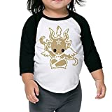 Satanic Goat Baphomet 3/4 Sleeves Raglan Toddler Children Kids Custom Round Collar T Shirts Tee Unisex