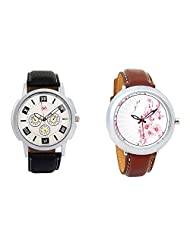 Gledati Men's White Dial And Foster's Women's White Dial Analog Watch Combo_ADCOMB0001749