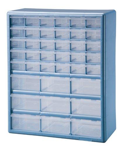 Discount Stack On DSLB 39 39 Bin Plastic Drawer Parts Storage Organizer  Cabinet, Light Blue For Sale