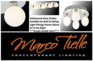 """Marco Tielle """"Hollywood"""" 4pack Opal Globes(4 x Replacement Glass Shades) for Mirrored Hollywood Wall & Ceiling Lights"""