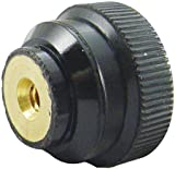3/4 dia., M6x1.00 thds., Black Phenolic Knurled Plastic Knobs w/Metric Brass Insert - Black ABS (1 Each)