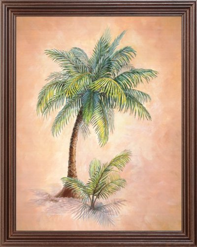 Tropical Light Palm Tree Wall Decor Picture Framed Art Print
