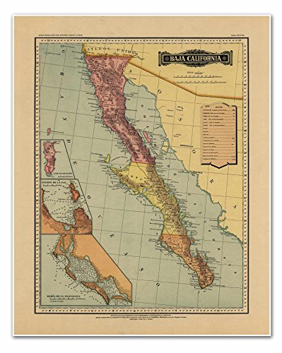 map-of-baja-california-from-atlas-mexicano-circa-1884-30-high-x-24-wide-762-mm-high-x-610-mm-wide