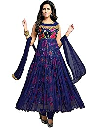 Anarkali Dress For Women Party Wear Dress Material Semi_stiched Printed Multicolored Salwar Suit For Women In...