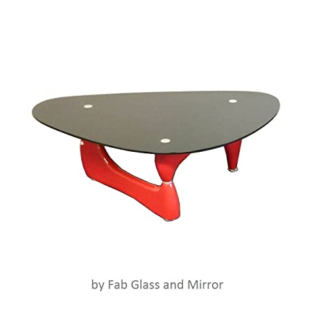 Noguchi style coffee table Red Color with Black Glass Top