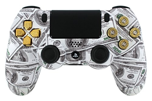 """Money Talks* Real Gold 9Mm Bullet Buttons"" Ps4 Custom Designed/Proffessionaly Painted Controller By Gimika"