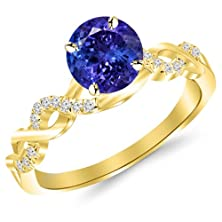 buy 1.13 Carat 14K Yellow Gold Twisting Infinity Gold And Diamond Split Shank Pave Set Diamond Engagement Ring With A 1 Carat Natural Tanzanite Center (Heirloom Quality)