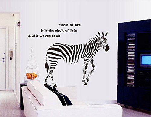 Removable Living Room Television Background Pvc Wall Stickers Zebra front-624592
