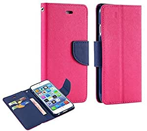 J.N. Mercury Fancy Diary Wallet Flip Case Back Cover for Micromax Unite A092 - Pink