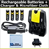 (4) Rechargeable AA Batteries + AC/DC Car/Home Charger For AA/AAA Batteries F/ Nikon L28 L30 L120 L620 L810 L820...
