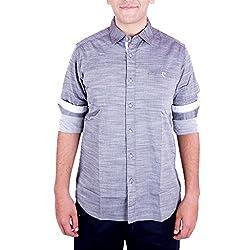 Enovate Men's Slim Fit Cotton Shirt (1014XL_Grey_X-Large)