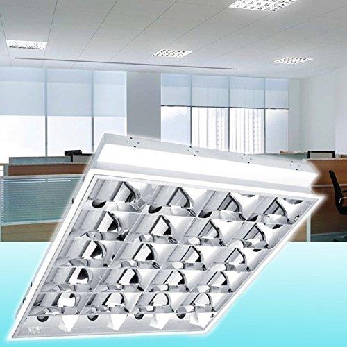 Einbau Rasterleuchte / Art. 8210 / geeignet für 4X T8 LED Röhren / Rasterlampe Bürolampe Deckenleuchte / für Industrie- und Lagerhallen Schulen, Büros und Sozialräume Korridore, Treppen- Parkhäuser Kühl- und Lagerräume Anwendung im Haushalt Warenhäuser u. Supermärkte