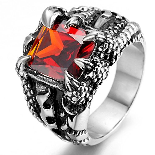 PSRINGS Halloween Skull Ring / Ruby Sapphire Red Engaget Black Gold Filled Rings 13.0 (Lil Kim Halloween Costume compare prices)