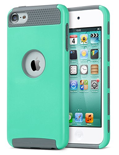 iPod Touch 5 Case,iPod 5 Case,5th case,ULAK [Colorful Series] Slim Fit Protective iPod Touch Case 2-Piece Style Hybrid Hard Case Cover for Apple iPod touch 5 6th Generation (Aqua Mint/Grey) (Ipod 5 Cases Protective For Girls compare prices)
