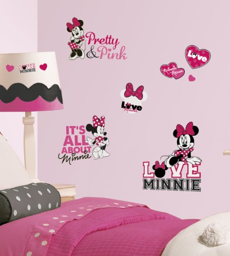 Roommates Rmk2180Scs  Mickey And Friends - Minnie Loves Pink Peel And Stick Wall Decals - 1