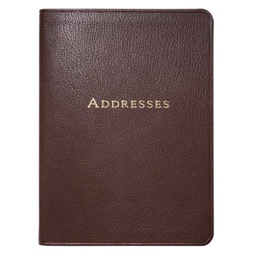7-Inch Leather Bound Desk Address Book, Mocha Goatskin