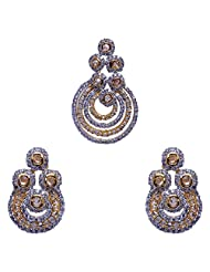 Gehna Kundan & A.D Stone Studded Pendant & Earrings Set Made In Silver Alloyed Metal