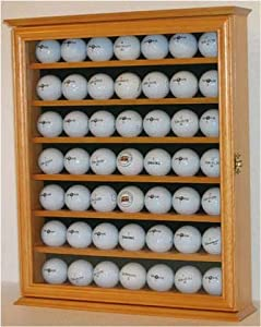 49 Golf Ball Display Case Holder Cabinet, with glass door, OAK Finish by NULL