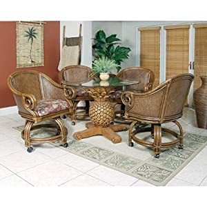 Sunset Reef 5 Piece Indoor Rattan Dining Set With Caster Chairs