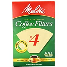 Melitta Cone Coffee Filters, Natural Brown, No. 4, 100-Count Filters (Pack of 6)
