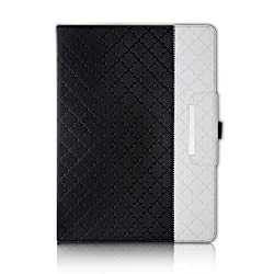 iPad Pro Case,Thankscase Rotating Leather Case Smart Cover with Quatrefoil Lattice Embossed Pattern,Swivel Case Build-in Pencil Holder and Wallet Pocket and Hand Strap for iPad Pro.(Black Quatrefoil)