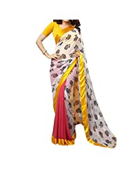 Bhavi Embellished Printed Georgette Saree - B00NBXY842