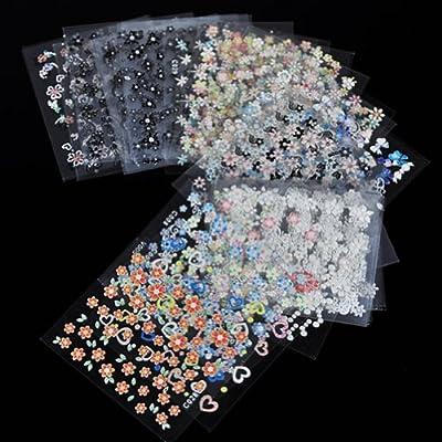 RHX 50 Sheet Mix Color 3D Design Nail Art Sticker Tip Decal