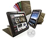 Tri-Axis Stasis Series: Saddle Leather Hide case cover for Apple iPad 2