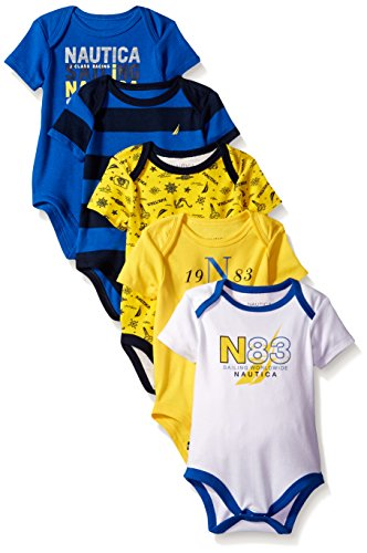 Nautica Baby Boys' Newborn Five-Pack Bodysuits, Blue, 6-9 Months
