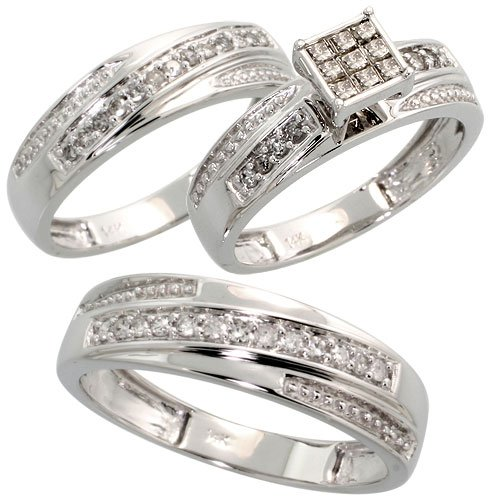 14k White Gold Trio 3-Piece His (6mm) & Hers (5.5mm; 6mm) Wedding Band Set, w/ 0.60 Carat Brilliant Cut & Invisible-set Diamonds; (Men
